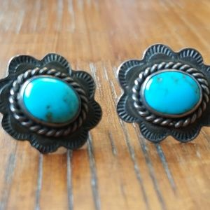 Vintage Sterling silver and  turquoise screw back